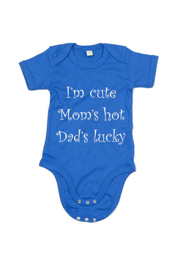 Lasten lyhythihainen body, I'm cute, mom's hot, dad's lucky